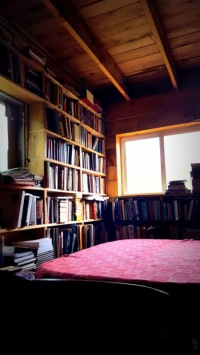 The walls are lined with books